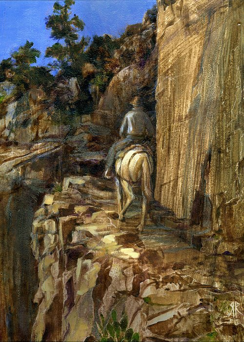 Grand Canyon Greeting Card featuring the painting High Trail by Rick Reason