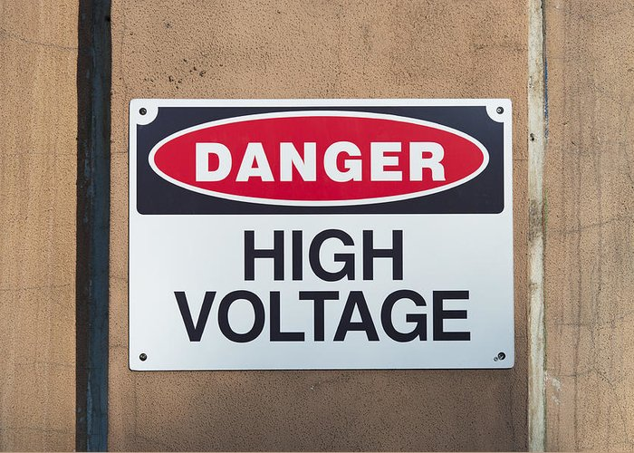 High Greeting Card featuring the photograph High Voltage Sign by Hans Engbers