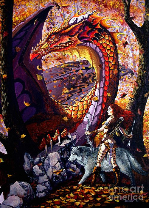 Dragon Greeting Card featuring the painting Highland Huntress by Stanley Morrison