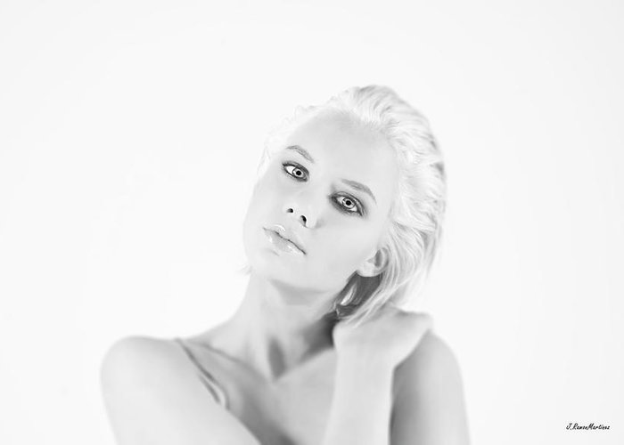 Highlight Woman Portrait Photography Blonde B&w Greeting Card featuring the photograph Highlight Portrait by Ramon Martinez