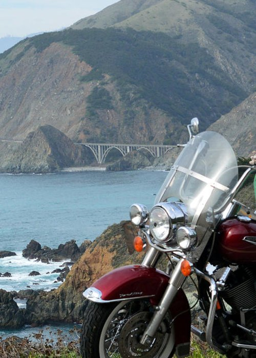 Highway One Harley Greeting Card featuring the digital art Highway One Harley by Barbara Snyder