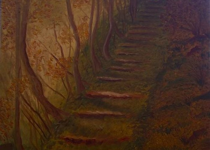Steps Greeting Card featuring the painting Highway To Heaven by Angelia Young