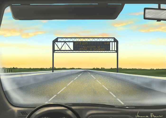 Ipad Greeting Card featuring the painting Highway by Veronica Minozzi