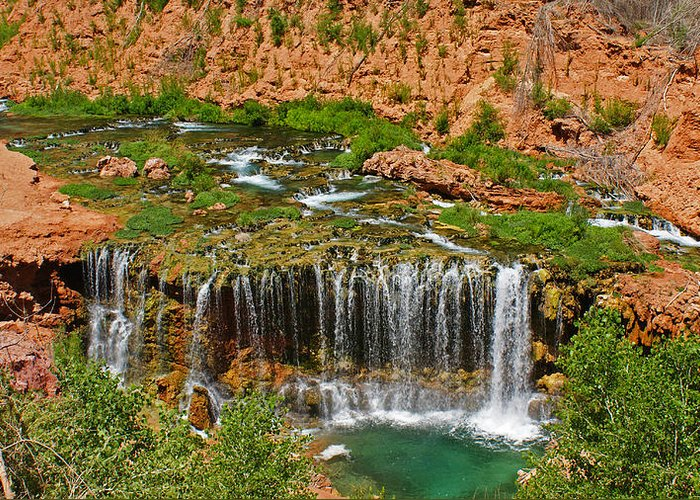 Landscape Greeting Card featuring the photograph Hike Into Havasupai by Michael J Bauer