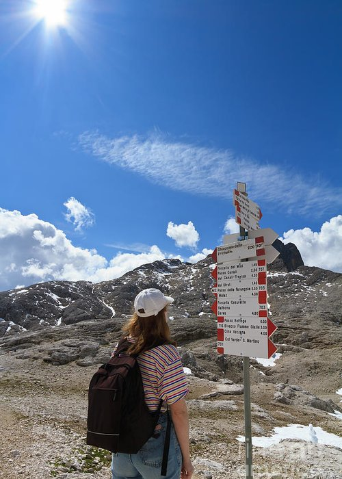 Alpine Greeting Card featuring the photograph Hiker Find The Way by Antonio Scarpi
