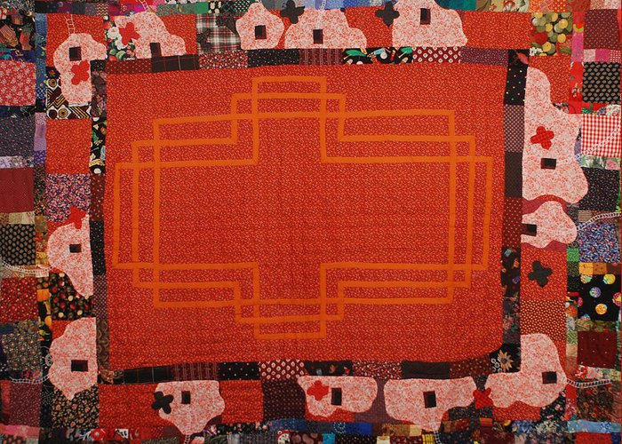Quilt Fabric Sewn Orange Patchwork Quilted Pattern Original White Birds Red-orange Greeting Card featuring the tapestry - textile Hildegard by Nancy Mauerman