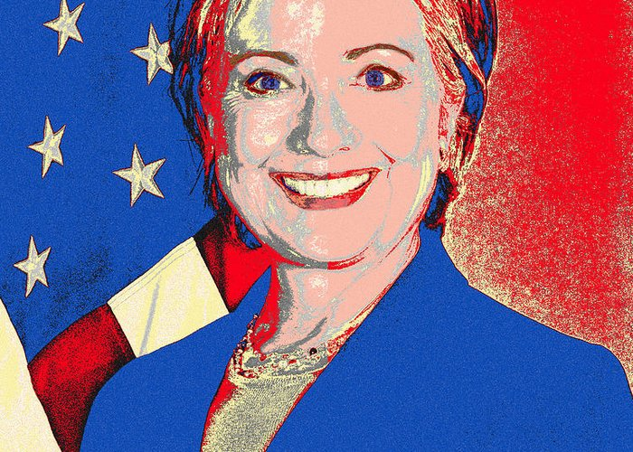Hillary Clinton Greeting Card featuring the photograph Hillary 2016 by Scarebaby Design