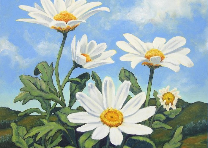 White Greeting Card featuring the painting Hills And White Daisies by James Derieg