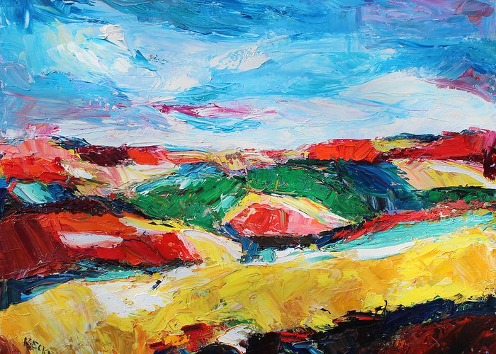 Oil Greeting Card featuring the painting Hills In Dream 2 by Becky Kim