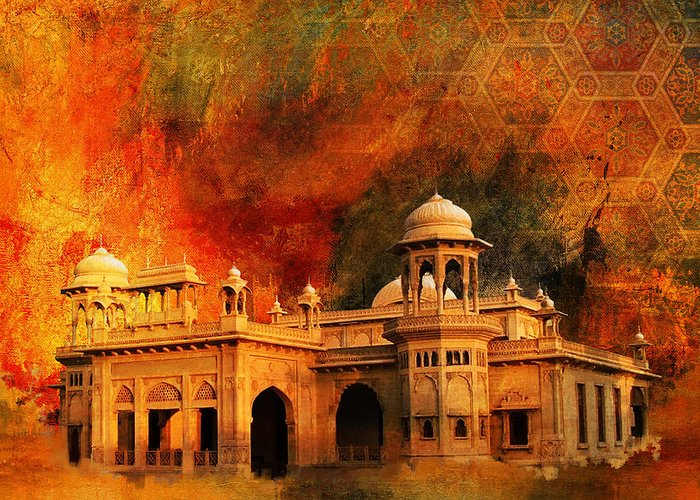 Pakistan Greeting Card featuring the painting Hindu Gymkhana by Catf