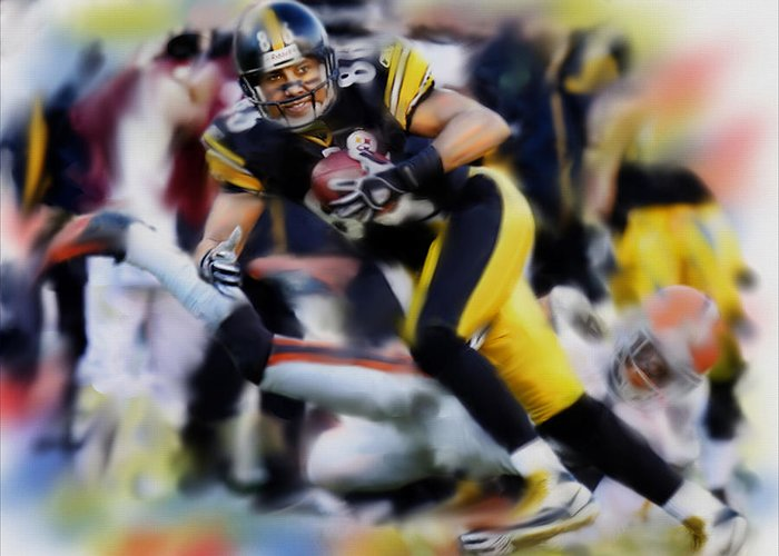 Pittsburgh Steelers Greeting Card featuring the painting Hines Ward by Dwayne Graham