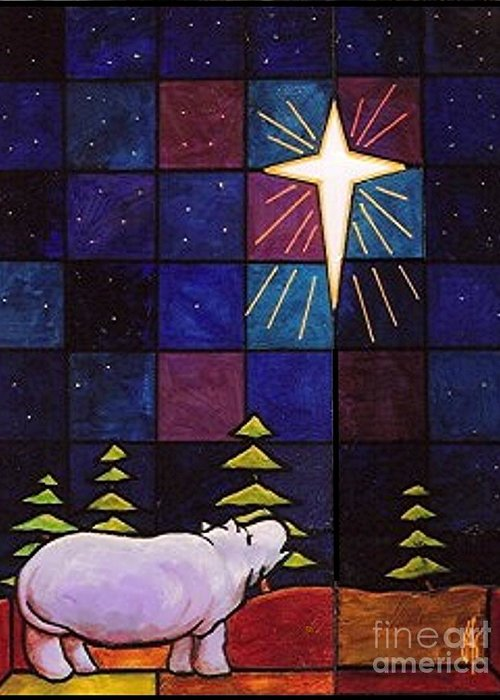 Christmas Greeting Card featuring the painting Hippo Awe And Wonder by Jim Harris
