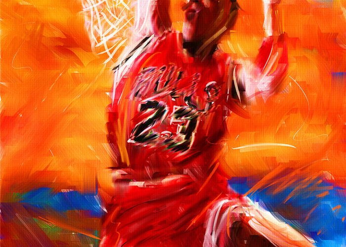 Basketball Greeting Card featuring the digital art His Airness by Lourry Legarde