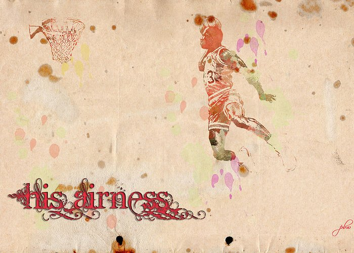 Featured Greeting Card featuring the digital art His Airness - Michael Jordan by Paulette B Wright