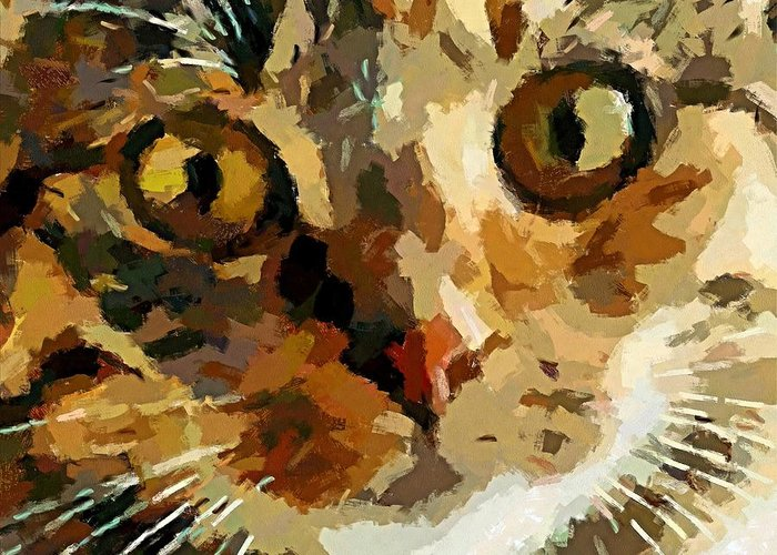 Animal Greeting Card featuring the painting His Eyes by Dragica Micki Fortuna