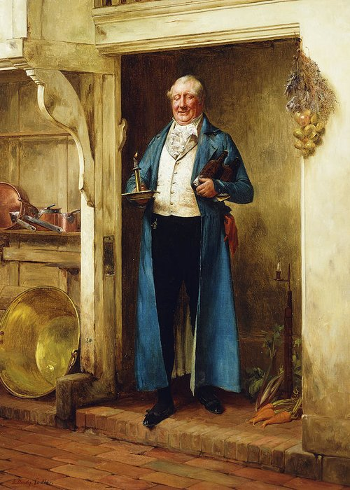 032012upload Greeting Card featuring the painting His Favourite Bin; And Testing by Walter Dendy Sadler