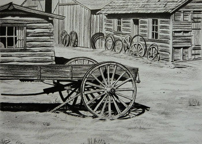 Historic Cabins Greeting Card featuring the painting Historic Cabins Cody Wyoming by Lucy Deane