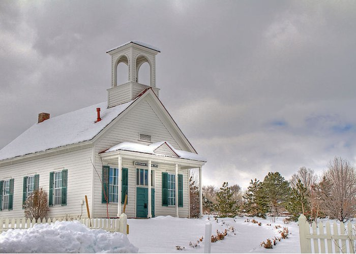 Architecture Greeting Card featuring the photograph Historic Huffaker Schoolhouse by Donna Kennedy