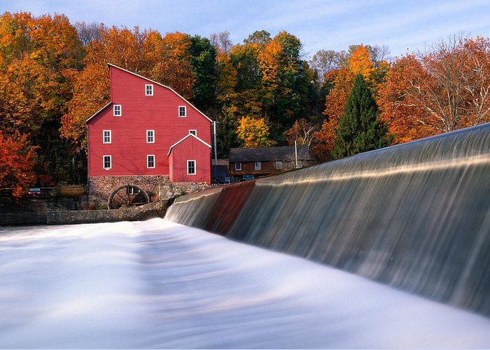 Autumn Greeting Card featuring the photograph Historic Red Mill At Fall Clinton New Jersey by George Oze