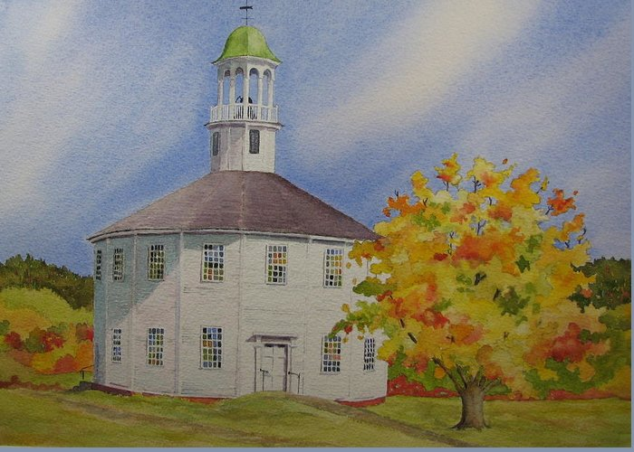 Richmond Greeting Card featuring the painting Historic Richmond Round Church by Mary Ellen Mueller Legault