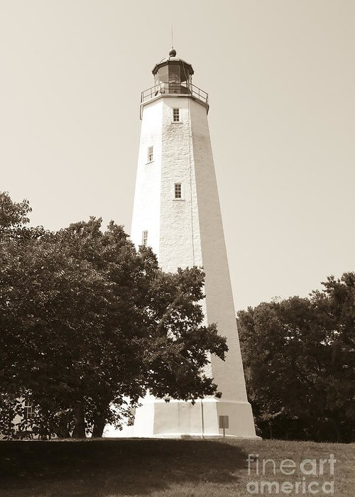 Lighthouses Greeting Card featuring the photograph Historic Sandy Hook Lighthouse by Anthony Sacco