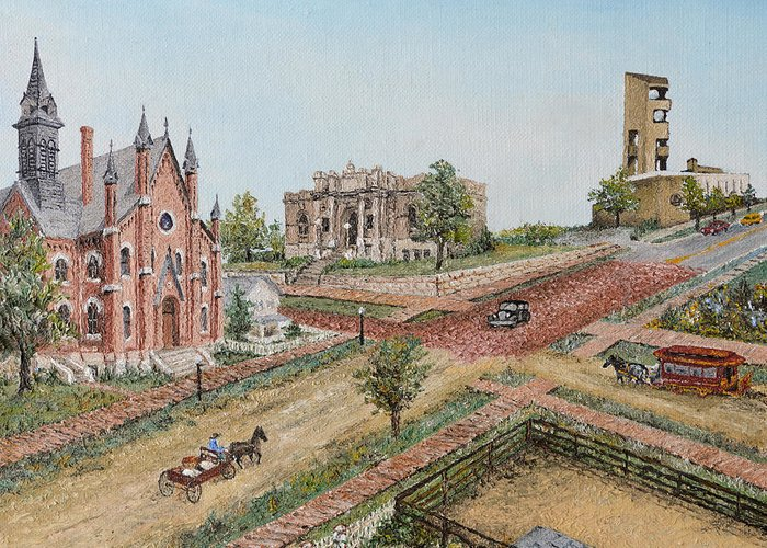 Historical Greeting Card featuring the painting Historic Street - Lawrence Kansas by Mary Ellen Anderson