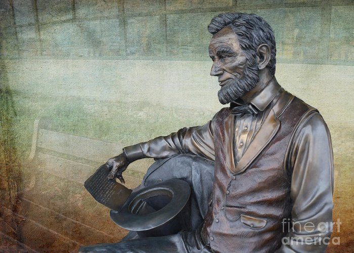Springfield Illinois Greeting Card featuring the photograph History - Abraham Lincoln Contemplates - Luther Fine Art by Luther Fine Art