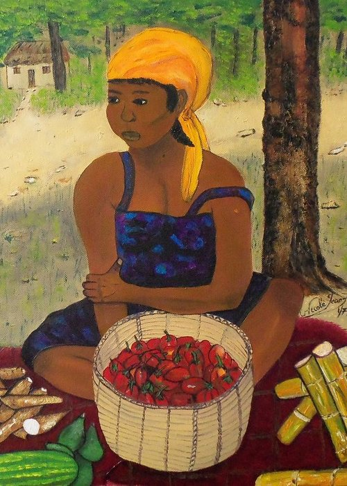 History Behind Caribbean Food Produces By Nicole Jean-louis Greeting Card featuring the painting History Behind Caribbean Food Produces by Nicole Jean-Louis