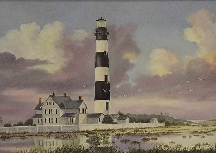 Lighthouse Greeting Card featuring the painting History Of Morris Lighthouse by Wanda Dansereau