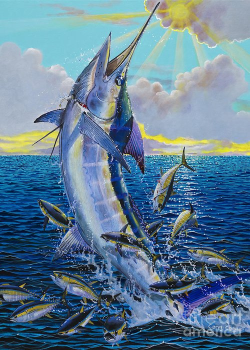 Marlin Greeting Card featuring the painting Hit And Miss Off0084 by Carey Chen