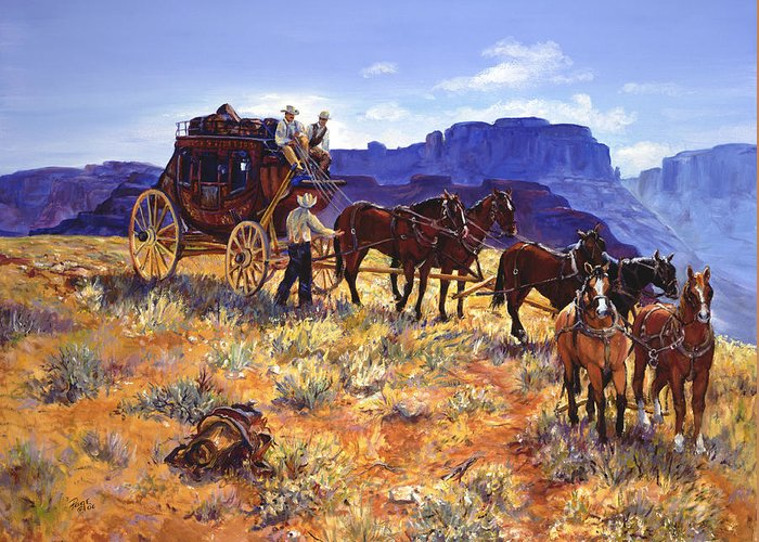 Stagecoach Greeting Card featuring the painting Hitchin by Page Holland