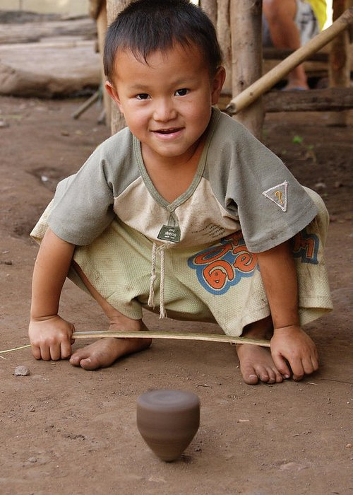 3scape Photos Greeting Card featuring the photograph Hmong Boy by Adam Romanowicz