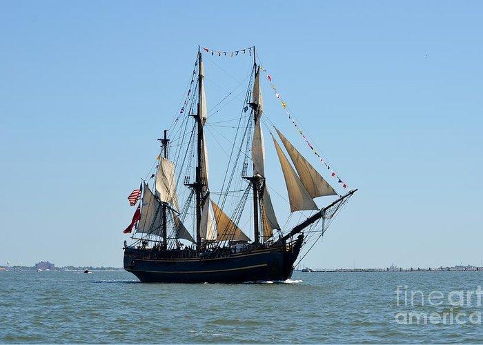 Sailing Ship Blue Sky Greeting Card featuring the photograph Hms Bounty by Brenda Dorman