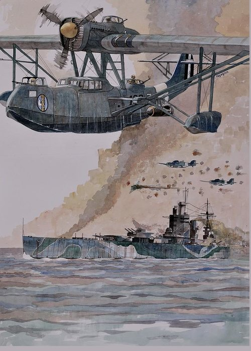 Battleship Greeting Card featuring the painting HMS Nelson by Ray Agius