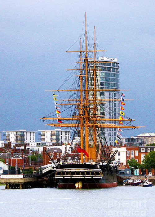 Hms Warrior Greeting Card featuring the photograph Hms Warrior Portsmouth by Terri Waters