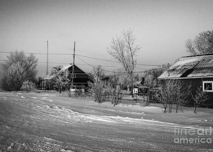 Hoar Greeting Card featuring the photograph hoar frost covered street in small rural village of Forget Saskatchewan Canada by Joe Fox
