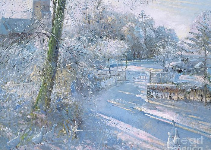 Snow; Geese; Goose; Lane; Gate; Gaggle Greeting Card featuring the painting Hoar Frost Morning by Timothy Easton