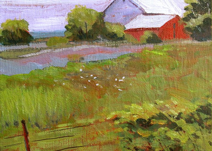Landscape Greeting Card featuring the painting Hobbs Farm by Charlie Spear