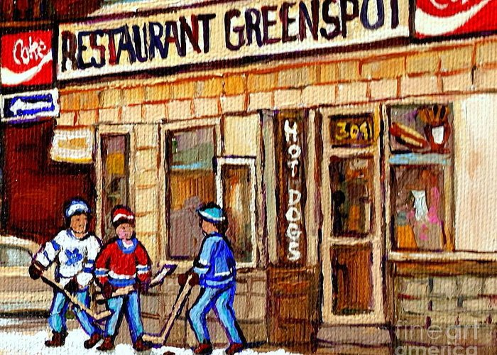 Restaurant Greenspot Greeting Card featuring the painting Hockey And Hotdogs At The Greenspot Diner Montreal Hockey Art Paintings Winter City Scenes by Carole Spandau