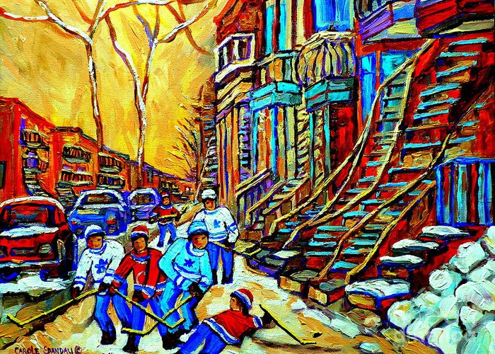 Montreal Greeting Card featuring the painting Hockey Art Montreal Winter Scene Winding Staircases Kids Playing Street Hockey Painting by Carole Spandau