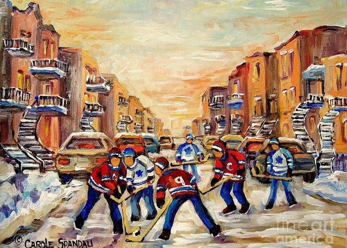 Hockey Daze Greeting Card featuring the painting Hockey Daze by Carole Spandau
