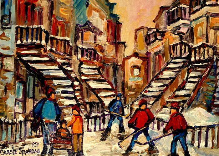 Montreal Greeting Card featuring the painting Hockey Game Near Winding Staircases Montreal Streetscene by Carole Spandau