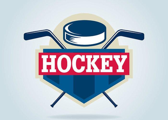 Play Greeting Card featuring the digital art Hockey Logo,sport by Vextor Studio