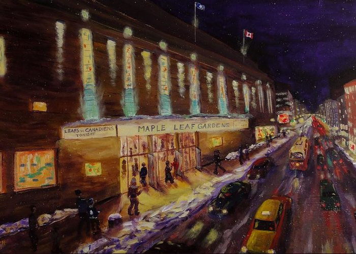 Hockey Greeting Card featuring the painting Hockey Memories - Maple Leaf Gardens by Brent Arlitt