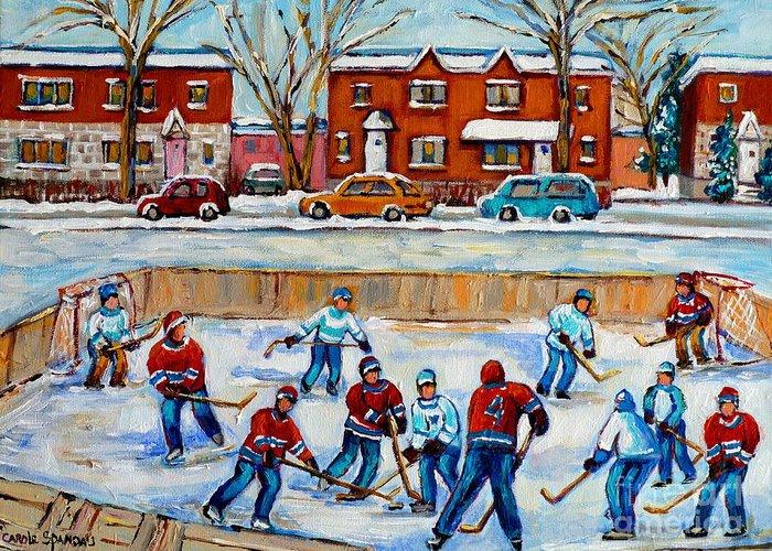 Hockey At Van Horne Montreal Greeting Card featuring the painting Hockey Rink At Van Horne Montreal by Carole Spandau