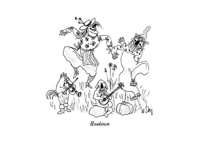 Rural Greeting Card featuring the drawing Hoedown by William Steig