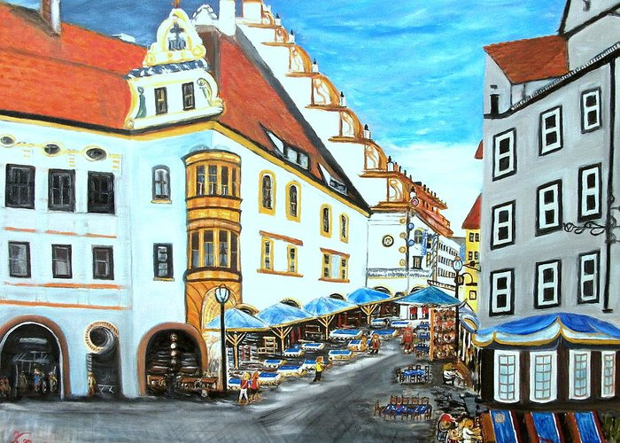 Landscape Greeting Card featuring the painting Hofbrauhaus Munchen by Kenneth LePoidevin