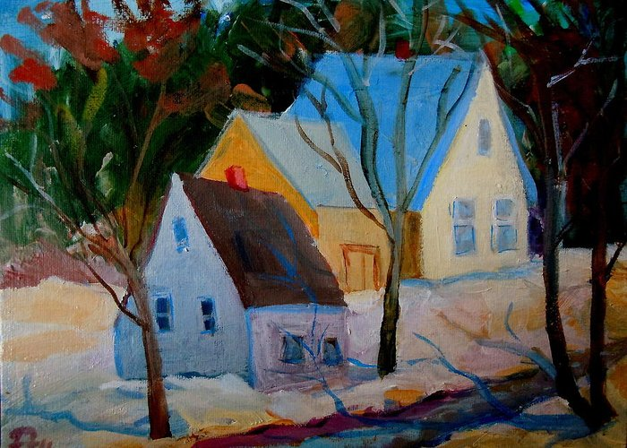 Maine Landscape Greeting Card featuring the painting Hog Bay Relics by Francine Frank