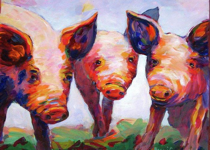 Farm Animals Greeting Card featuring the painting Hog Marketing Board by Naomi Gerrard