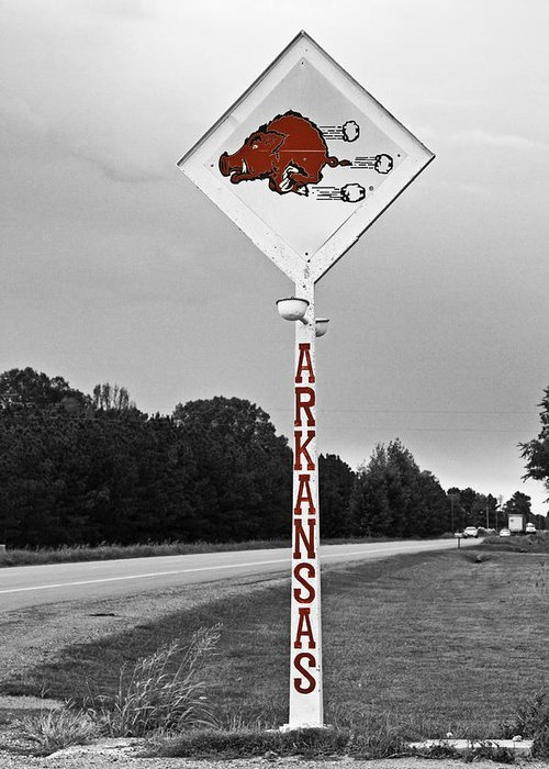 Arkansas Greeting Card featuring the photograph Hog Sign by Scott Pellegrin